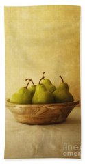 Pears In A Wooden Bowl Beach Sheet by Priska Wettstein