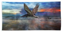 Pelican Sunrise Beach Towel by Betsy Knapp