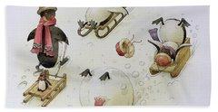 Penguins Sledging Beach Towel by Kestutis Kasparavicius