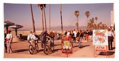 People Walking On The Sidewalk, Venice Beach Towel by Panoramic Images