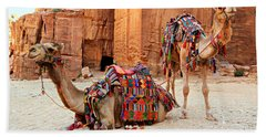 Petra Camels Beach Towel by Stephen Stookey