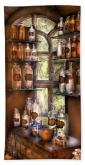 Pharmacist - Various Potions Beach Sheet by Mike Savad