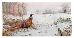 Pheasant And Bramblefinch In The Snow Beach Towel by Carl Donner