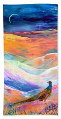 Pheasant Moon Beach Towel by Jane Small