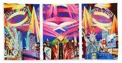 Phish New York For New Years Triptych Beach Towel by Joshua Morton