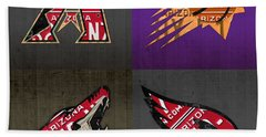 Phoenix Sports Fan Recycled Vintage Arizona License Plate Art Diamondbacks Suns Coyotes Cardinals Beach Towel by Design Turnpike