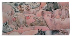 Pig Spread Beach Towel by Ditz