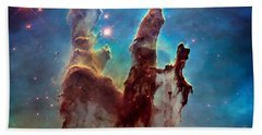 Pillars Of Creation In High Definition - Eagle Nebula Beach Towel by Jennifer Rondinelli Reilly - Fine Art Photography
