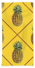 Pineapple Squared Textile Pattern Beach Towel by John Keaton