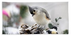 Playful Winter Titmouse Beach Towel by Christina Rollo
