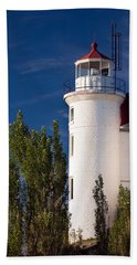 Point Betsie Lighthouse Michigan Beach Sheet by Adam Romanowicz