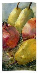 Pomegranates And Pears Beach Sheet by Jen Norton