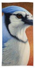 Portrait Of A Bluejay Beach Towel by James W Johnson