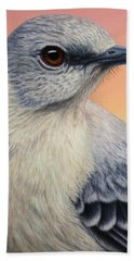 Portrait Of A Mockingbird Beach Towel by James W Johnson