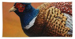 Portrait Of A Pheasant Beach Towel by James W Johnson