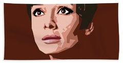 Portrait Of Audrey Hepburn Beach Sheet by Douglas Simonson