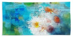 Pot Of Daisies 02 - J3327100-bl1t22a Beach Sheet by Variance Collections
