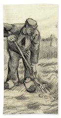 Potato Gatherer Beach Towel by Vincent Van Gogh