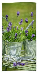 Pots Of Lavender Beach Towel by Amanda Elwell