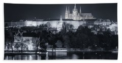 Prague Castle At Night Beach Towel by Joan Carroll