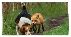 Probably The World's Worst Hunting Dog Beach Sheet by Mircea Costina Photography