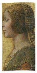 Profile Of A Young Fiancee Beach Sheet by Leonardo Da Vinci