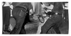 Protester Clubbed In Harlem Beach Sheet by Underwood Archives