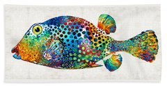 Puffer Fish Art - Puff Love - By Sharon Cummings Beach Sheet by Sharon Cummings