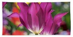 Radiant Purple Tulips Beach Sheet by Rona Black