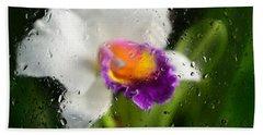 Rainy Day Orchid - Botanical Art By Sharon Cummings Beach Sheet by Sharon Cummings