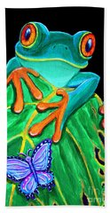 Red-eyed Tree Frog And Butterfly Beach Sheet by Nick Gustafson
