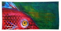 Red Fish Beach Towel by Nancy Merkle
