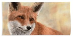 Red Fox Painting Beach Sheet by Rachel Stribbling