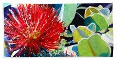 Red Ohia Lehua Flower Beach Towel by Marionette Taboniar