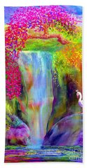 Waterfall And White Peacock, Redbud Falls Beach Sheet by Jane Small