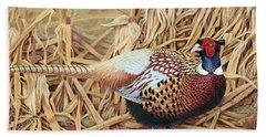 Ring-necked Pheasant Beach Sheet by Ken Everett