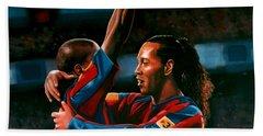 Ronaldinho And Eto'o Beach Towel by Paul Meijering
