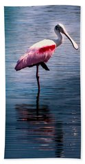 Roseate Spoonbill Beach Towel by Karen Wiles