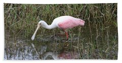 Roseate Spoonbill Reflection Beach Towel by Carol Groenen