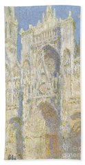 Rouen Cathedral West Facade Beach Sheet by Claude Monet