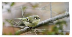 Ruby-crowned Kinglet Beach Sheet by Christina Rollo