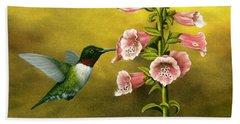 Ruby Throated Hummingbird And Foxglove Beach Towel by Rick Bainbridge
