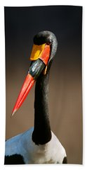 Saddle-billed Stork Portrait Beach Towel by Johan Swanepoel