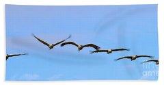 Sandhill Crane Flight Pattern Beach Sheet by Mike Dawson
