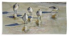 Sandpipers 2 Watercolor 5-13-12 Julianne Felton Beach Sheet by Julianne Felton