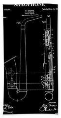 Saxophone Patent Black And White Beach Towel by Dan Sproul