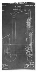 Saxophone Patent Beach Towel by Dan Sproul