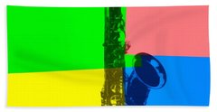 Saxophone Pop Art Beach Sheet by Dan Sproul