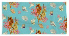 Seahorses Coral And Shells Beach Towel by Kimberly McSparran