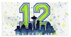 Seattle Seahawks 12th Man Art Beach Towel by Olga Shvartsur